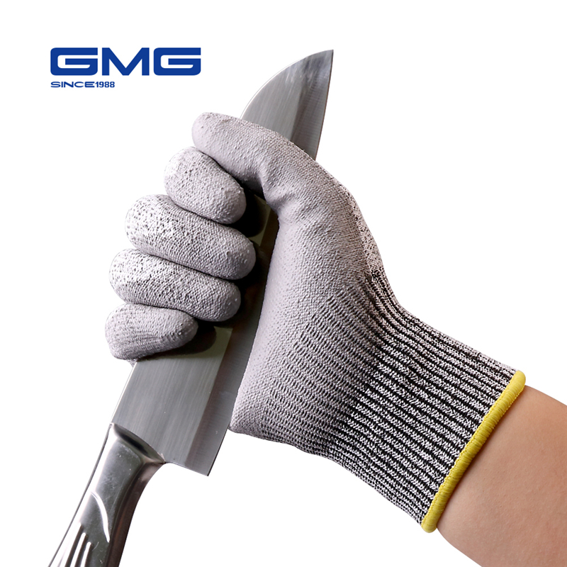 Anti-cut Gloves GMG Grey HPPE Shell PU Coated CE Certificated EN388 Cut Resistant Gloves Work Safety Gloves Working Cut Level 5