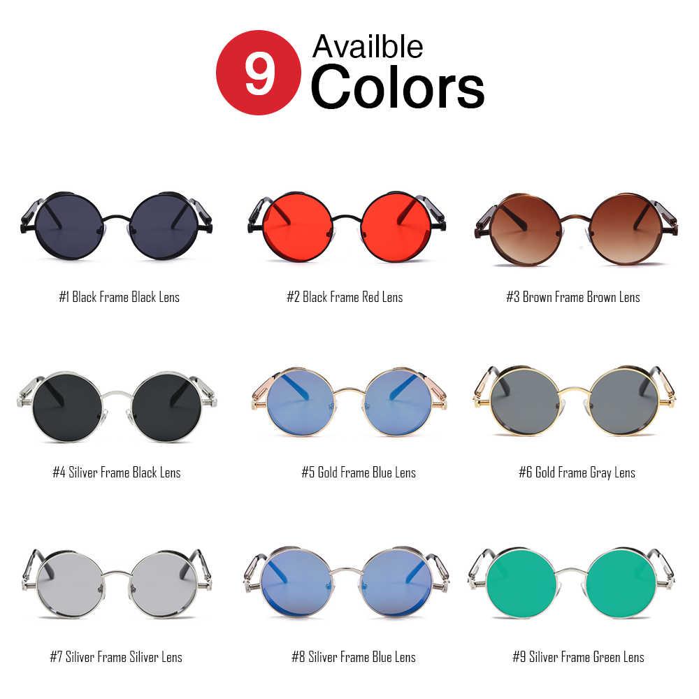 Vivibee Vintage Steampunk Merah Kacamata Pria Bulat Punk Logam Paduan Retro Berjemur Kacamata Perempuan 2020 Kacamata Pria Gaya Gothic Warna