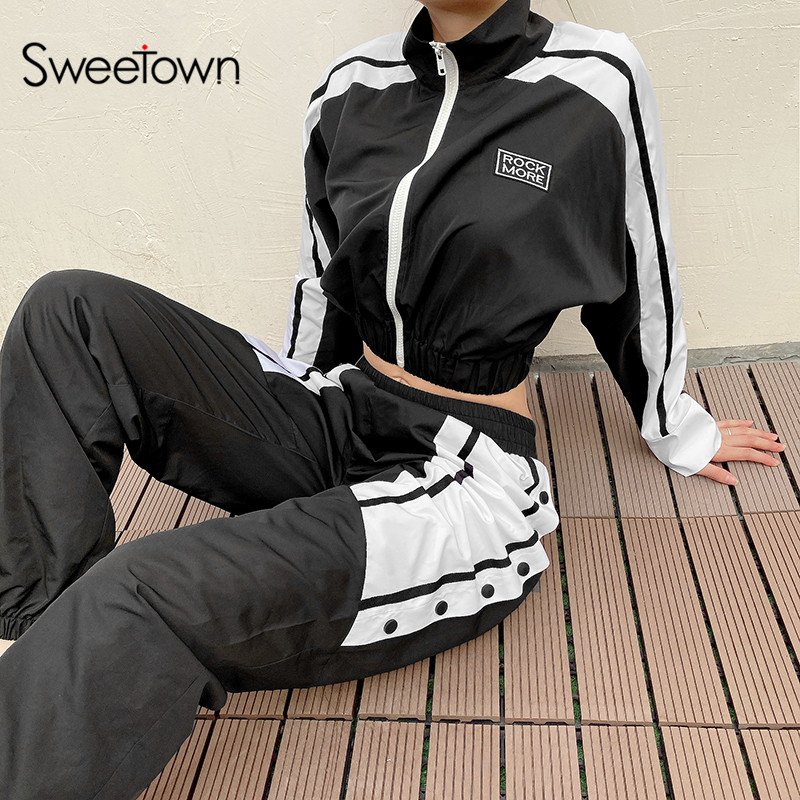 Sweetown Patchwork Striped Streetwear Pants Elastic High Waist Womens Joggers Sweatpants Casual Loose Hip Hop Baggy Cargo Pants