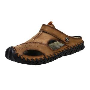 Image 2 - חדש מקרית גברים רך סנדלי נוח גברים קיץ עור גברים של נעלי בית גברים רומי הקיץ חיצוני חוף סנדלי גודל גדול 38 48