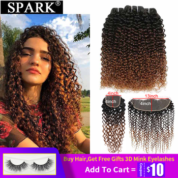 Spark Ombre Brazilian Hair Afro Kinky Curly Human Hair Bundles With Frontal Remy Human Hair Lace Closure With Bundles Extensions