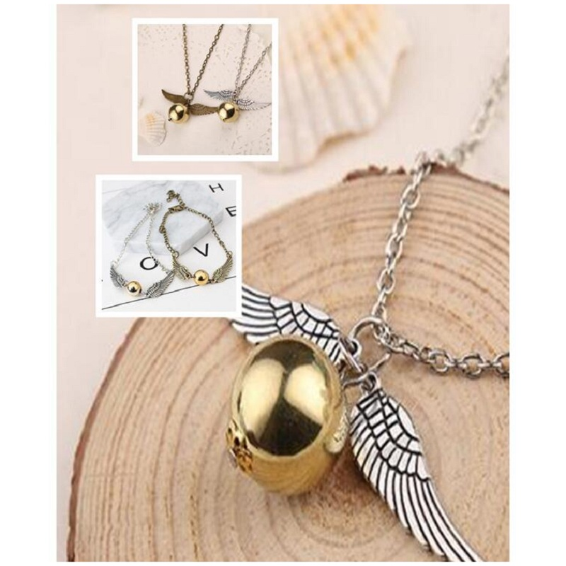 Vintage Gold Fly Thief Necklace Potter Angel Wing Golden Ball Bracelet Women Man Doll Decoration Christmas New Year Gift Toy