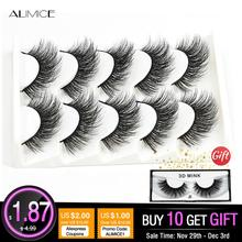 ALIMICE 5 Pairs 3d Mink Lashes Bulk False Eyelashes Natural/Thick Long Faux Mink Eyelashes Wispy Makeup Beauty Extension Tools