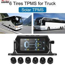 Sistema de supervisión de presión de neumáticos con alarma LCD Digital, inalámbrico, Solar, con 6 sensores externos, para coche, RV, camión, TPMS