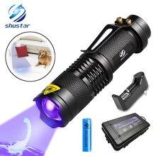 Luz ultravioleta uv da lanterna com função do zumbido mini uv preto luz manchas de urina do animal de estimação detector uso do escorpião aa/14500 bateria