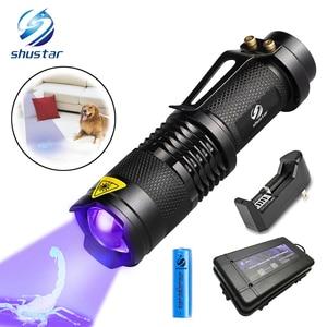 Image 1 - UV Flashlight Ultra Violet Light With Zoom Function Mini UV Black Light Pet Urine Stains Detector Scorpion Use AA/14500 battery