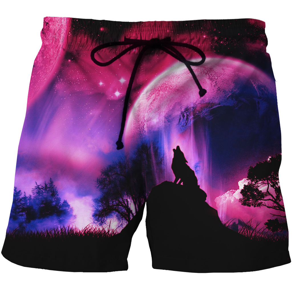 New European And American Men's Fast Dry Beach Shorts 3D Creative Printed Leisure Blank Shorts