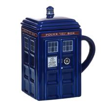 Doctor WHO Tardisตำรวจกล่องเซรามิคถ้วยแก้วฝาปิดสำหรับชาแก้วกาแฟตลกสร้างสรรค์ของขวัญของขวัญคริสต์มาสเด็กชาย