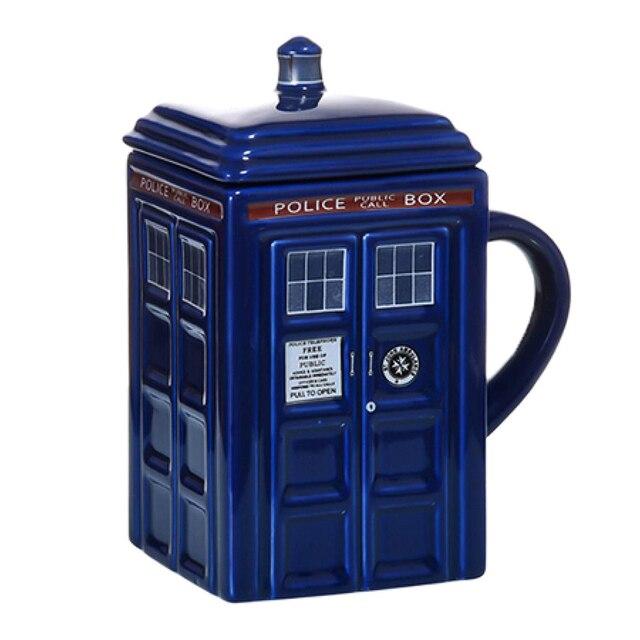 Doctor Who Tardis Police Box Ceramic Mug Cup With Lid Cover For Tea Coffee Mug Funny Creative Gift Christmas Presents Kids Men