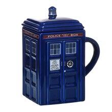 닥터 누가 Tardis 경찰 상자 세라믹 낯 짝 컵 뚜껑 차 커피 잔 재미 있은 크리 에이 티브 선물 크리스마스 선물 아이 남자