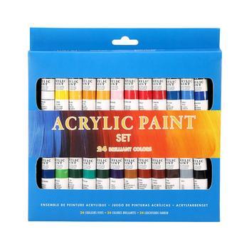 24 kolory zestaw farby farby akwarelowe bezpieczne zabawy farby akrylowe garnitur dla DIY rysunek malarstwo tanie i dobre opinie Acrylic paint 12ml for each tube 24colors set