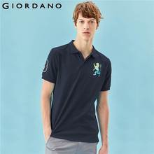 Giordano camisa polo masculino bordado 3d leão multi cor polo bordado cor contraste polo moda polo