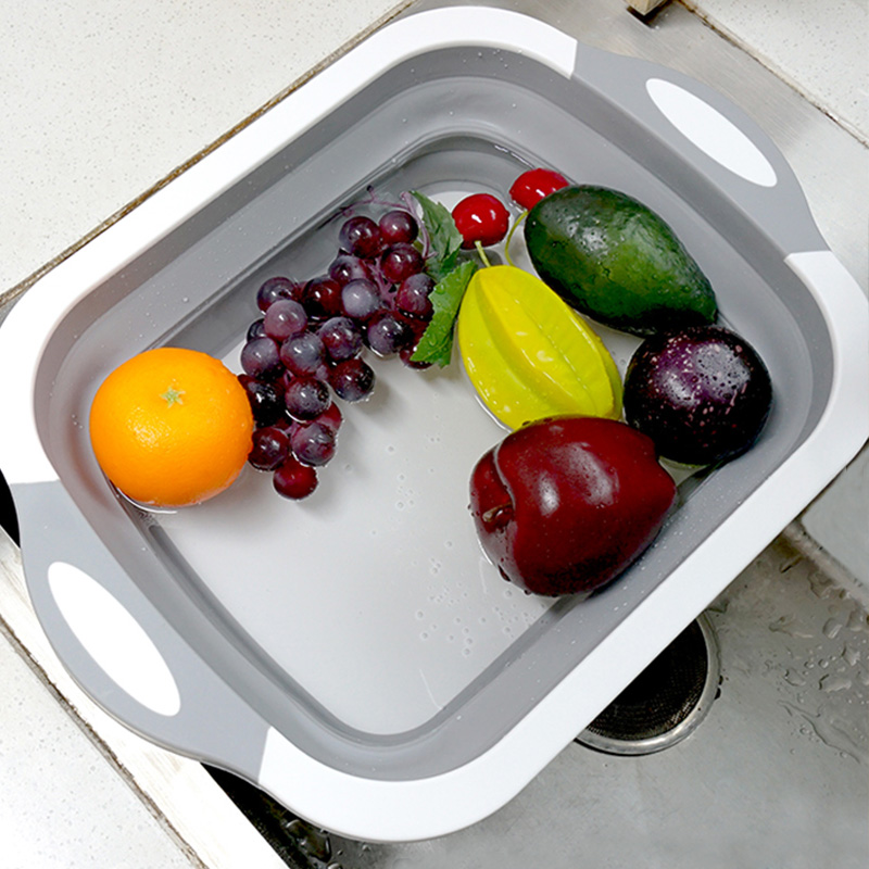 New Collapsible Chopping Block Foldable Cutting Board Kitchen Silicone Cutting Board Fruit Washing Basket With Draining Plug