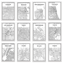 Black and White World City Map New York Tokyo Paris Wall Art Canvas Poster Prints Nordic Style Paintings Picture for Living Room new paris style