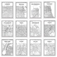 Mapa de ciudades del mundo en blanco y negro, Nueva York, Tokio, París, Póster Artístico en lienzo, impresiones, pinturas de estilo nórdico, imagen para sala de estar