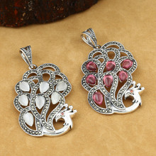 лучшая цена 925 Sterling Silver Jewelry Retro Thai Silver Men And Women Couples Marcasite Inlay Opal Peacock Pendant Fine Jewelry
