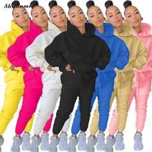Primavera sólida 2021 conjuntos de duas peças bolso moletom com capuz + calças ternos de suor casual desportivo 2 peças roupas agasalho feminino xxl