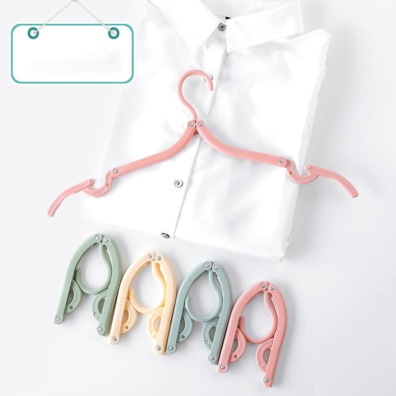 New-8 Packs Travel Portable Folding Hanger Multifunctional Stretch Clothes Plastic Travel Non-Slip Hanger-Random Color