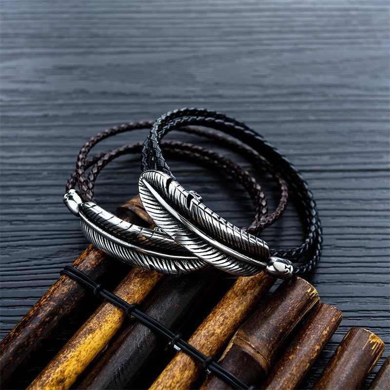 AZIZ BEKKAOUI wielowarstwowy pióro brązowy skórzane bransoletki dla mężczyzn unikalne Punk ze stali nierdzewnej stalowa bransoletka mężczyzna liny bransoletki i łańcuszki na rękę