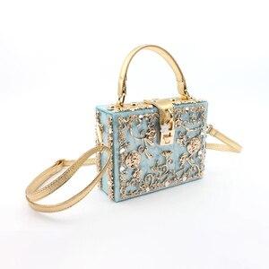 Image 4 - אקריליק תיבת ערב שקיות נשים יוקרה פרחים מנעול יהלומים אבן דפוס קטן כיכר מצמד כתף תיק ערב נשי