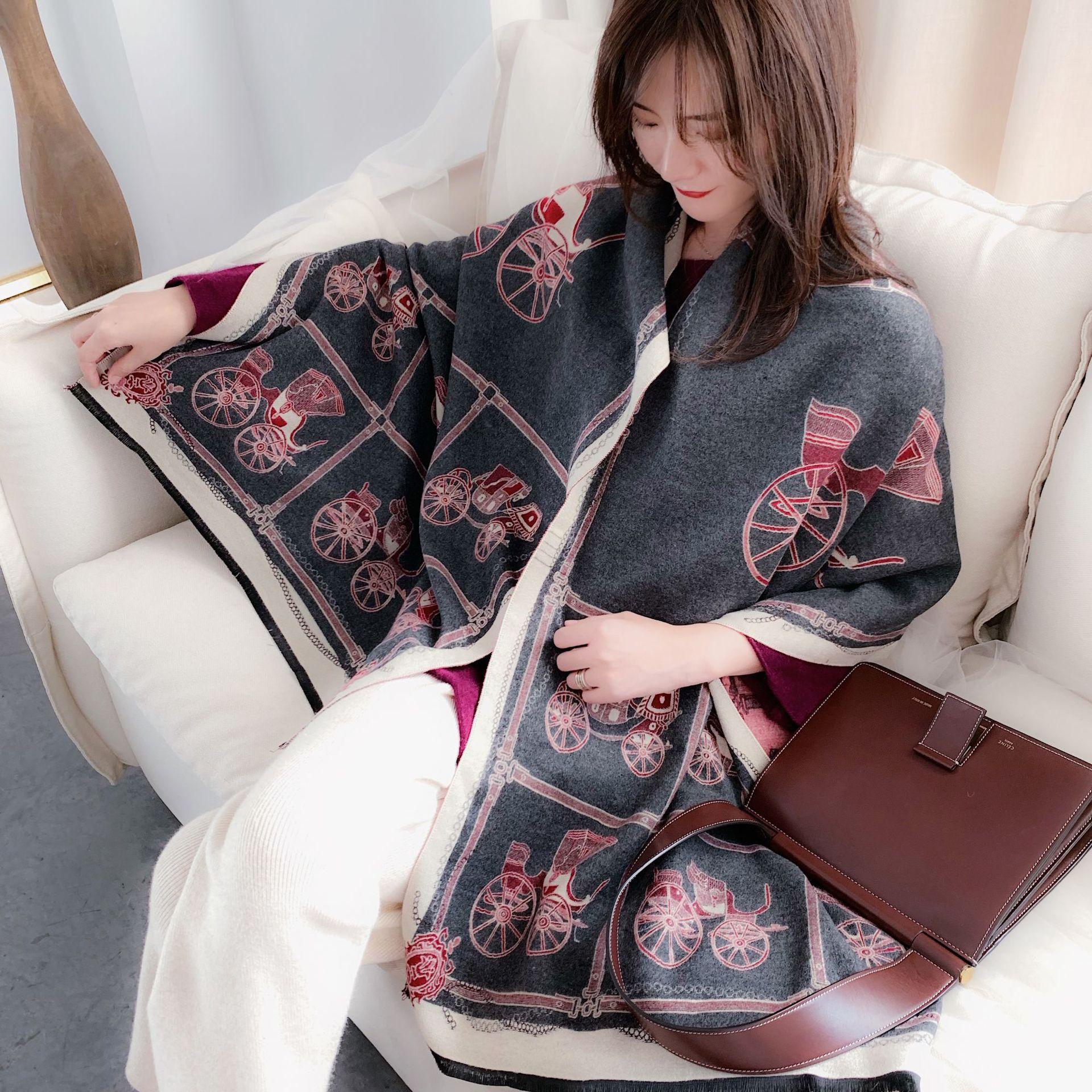Large Size Cashmere Brushed Scarf for Lady Pashmina Shawls Wraps Thick Women Warm Winter Scarves Luxury Brand Bufanda 2020 New