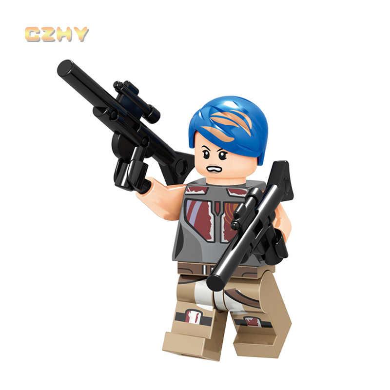 Urutan Pertama Pemberontak Troopers Star Wars Legoed Blok Bangunan Ruang Obi-Wan Kenobi Darth Vader Action Figure Anak Mainan c048