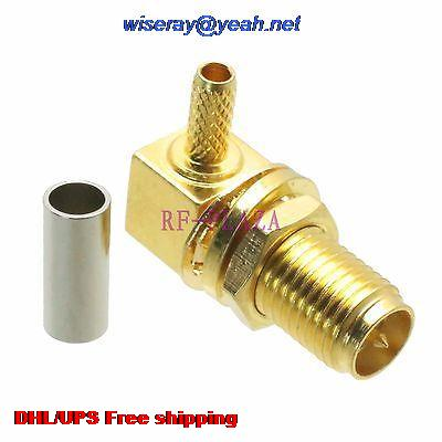 DHL/EMS 200pcs Connector RPSMA Female Bulkhead Crimp RG174 RG316 LMR100 Cable Right Angle -A3