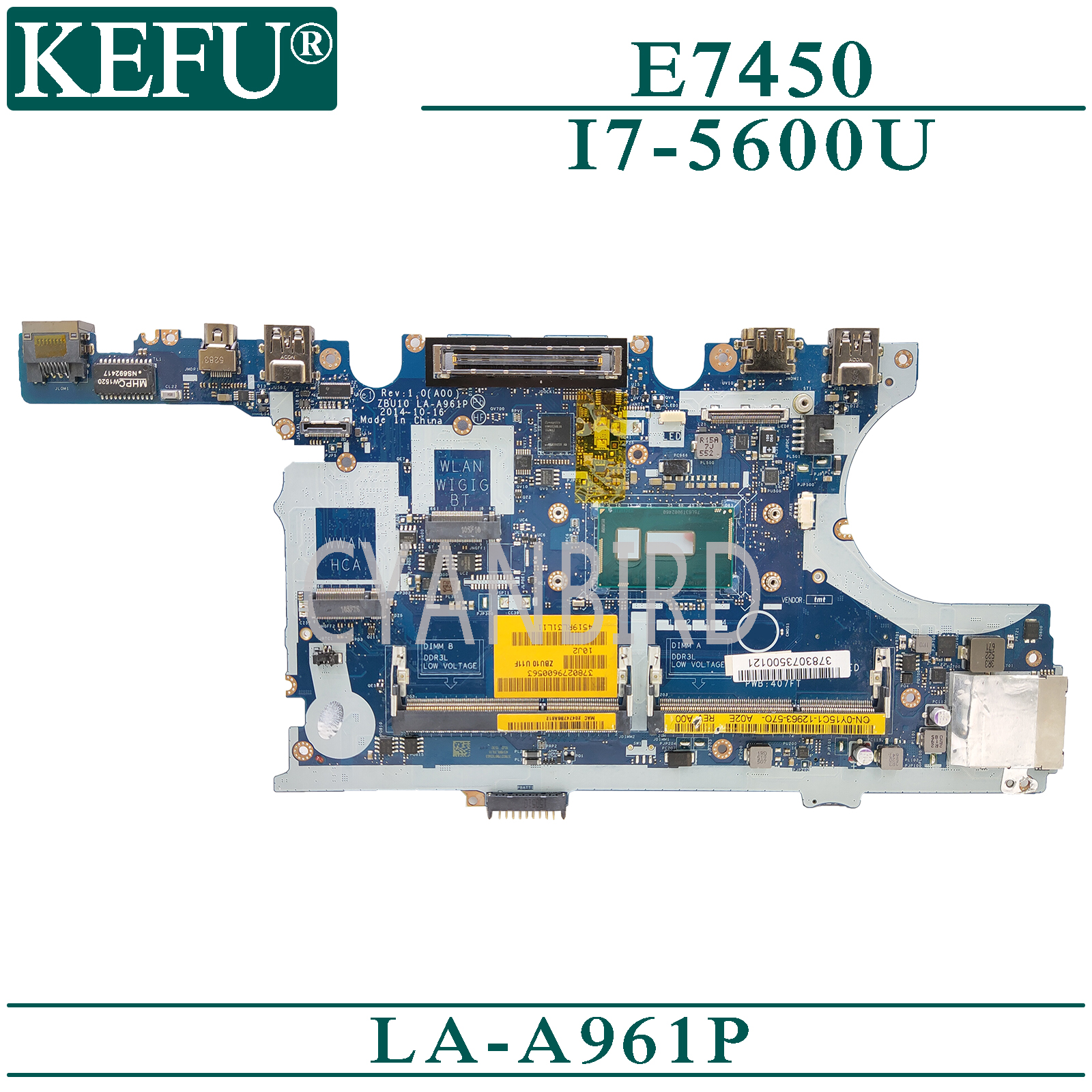 KEFU LA-A961P original mainboard for Dell Latitude E7450 with <font><b>I7</b></font>-<font><b>5600U</b></font> Laptop motherboard image