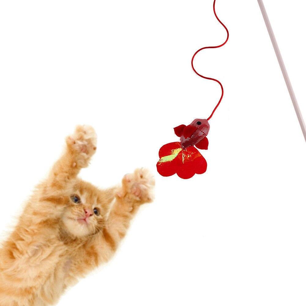 Juguete interactivo para gatos y mascotas, palo de varita, pez rojo