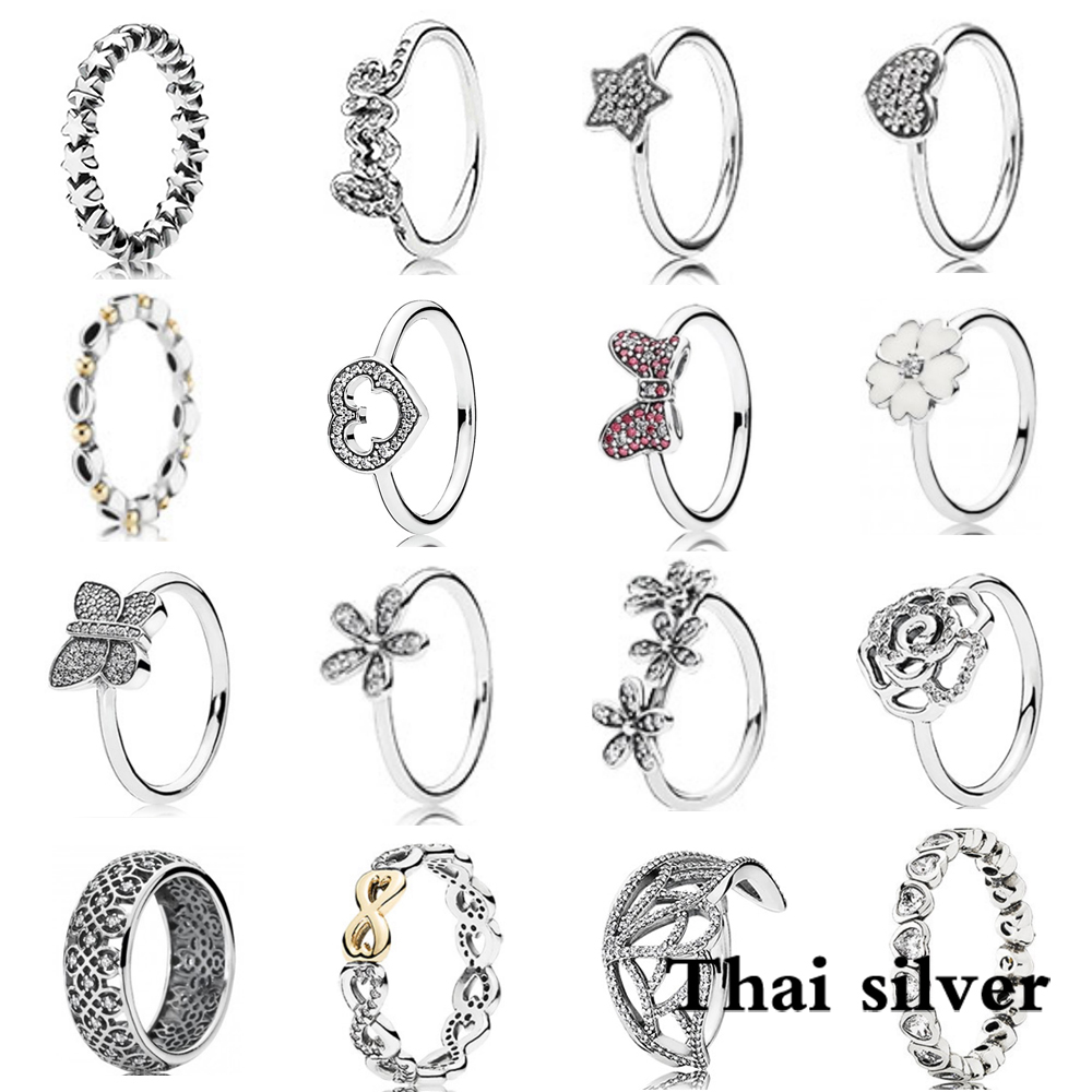 2019 NEW Sterling Thai Silver Star Butterfly Daisy Flower Rose Bow Love Anniversary Celebration Limited Edition Nickle Wave Ring