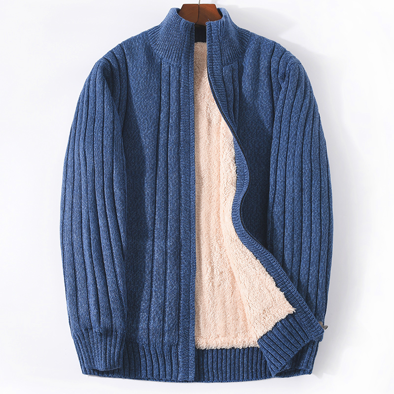 Thickened Plus Velvet Men's Sweater Jacket Stand-up Collar Loose Jacket Cardigan Pitted Fattening Plus Size