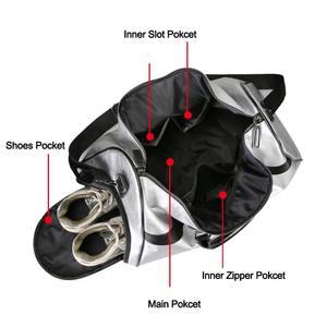 Image 3 - Silber Sport Tasche Dame Gepäck Tasche in Reisetaschen mit Tag Duffel Sporttasche Leder Frauen Yoga Fitness sac de sport Große XA806WD
