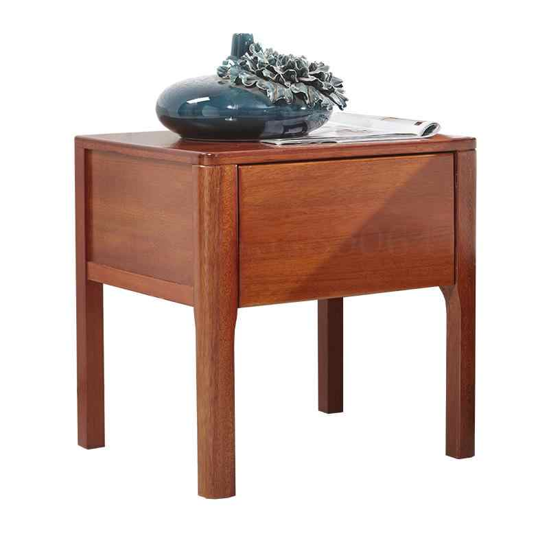 Pure Solid Wood All Walnut Bedside Table Two Drawers Small