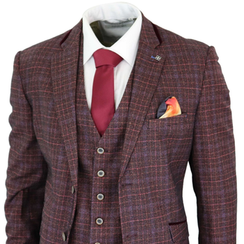 2020 Burgundy Mens Suits 3 Piece Check Tweed Wine Plum Tailored Fit Suit Classic Vintage Retro Costume Homme
