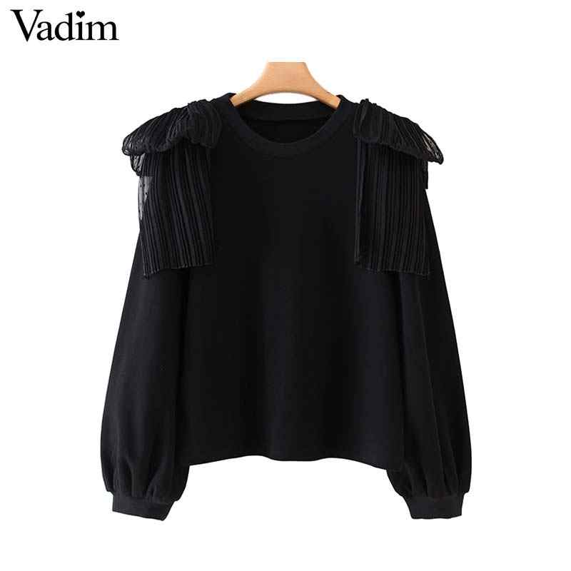 Vadim donne nero patchwork felpe increspature manica lunga O collo impiombato pullover femminile moda casual top HA488