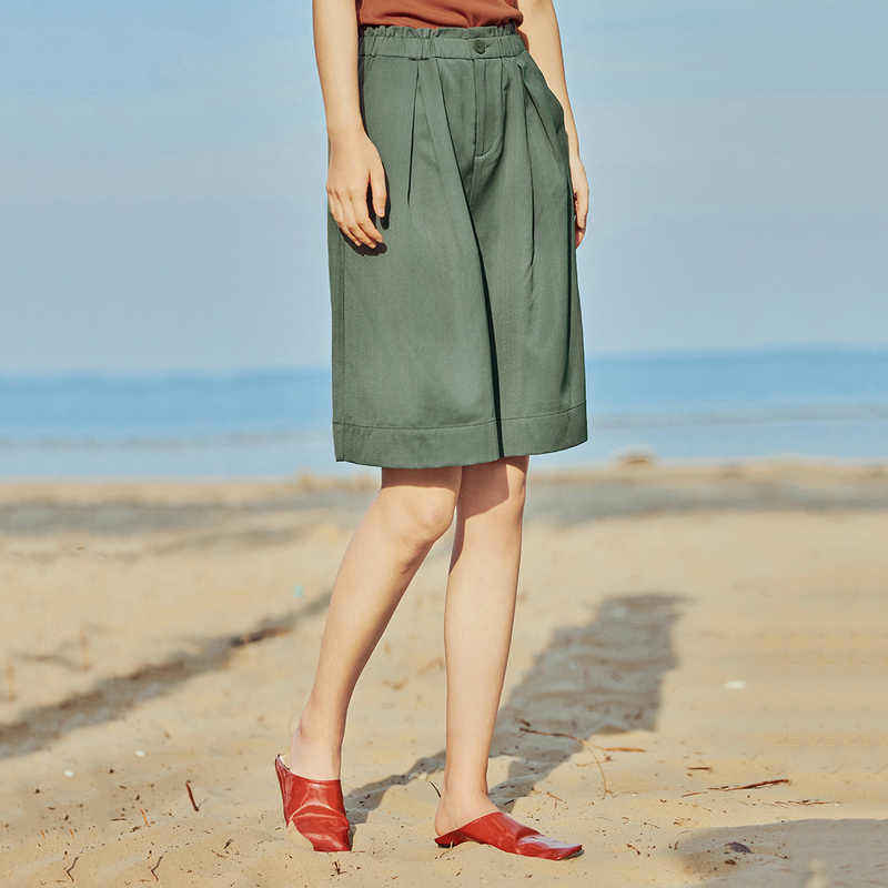 INMAN 2020 yaz yeni varış gevşek Casual Vintage Hongkong tarzı yarım uzunluk kısa pantolon
