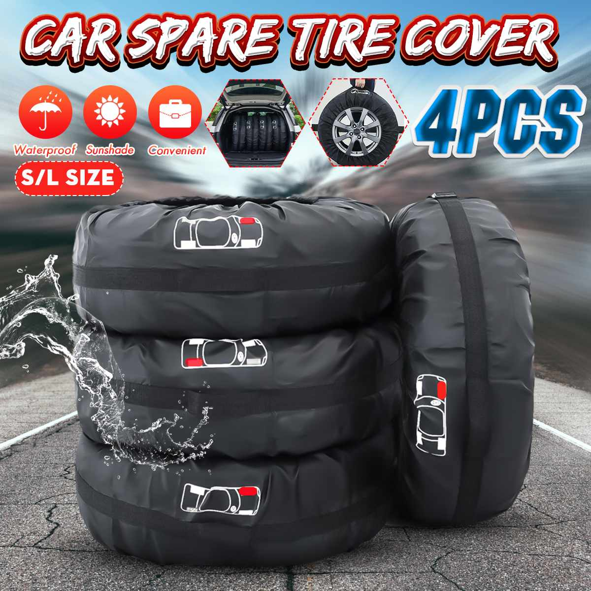 Universal 4pcs S/L Car Spare Tire Cover Case Polyester Tires Storage Bag Carrier Auto Tyre Wheel Protector Dustproof Waterproof