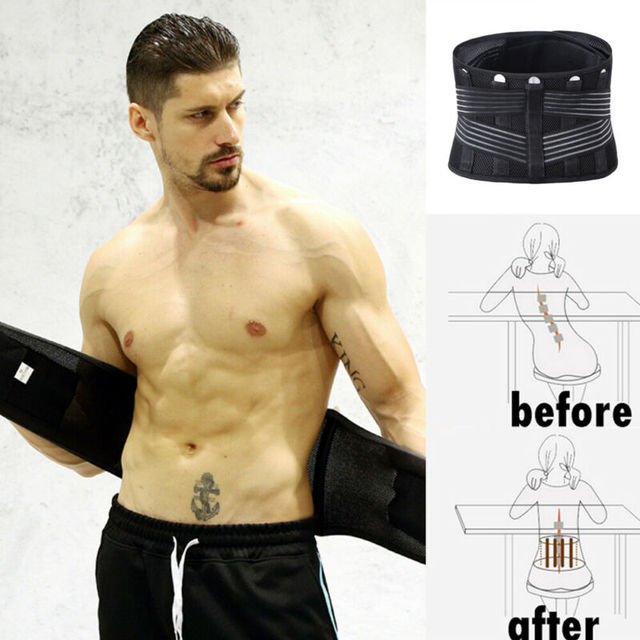 Men Support Waist Belt Sweat Waist Trainer Trimmer Belt Body Shaper Wrap Weight Loss Belt Black 4