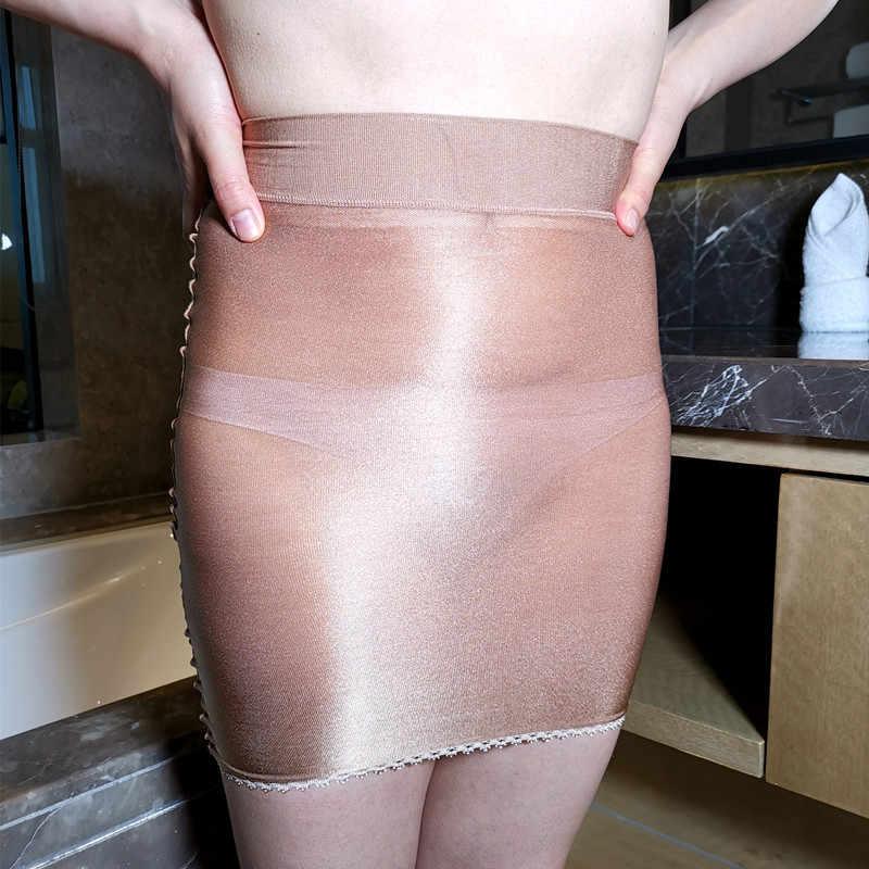 セクシーな光沢のある OL ミニスカートタイト鉛筆かわいいスカートシアースムーズシースルーマイクロミニスカート透明スカートのエロ着用女性 F