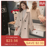 Bella philosophy 2019 autumn winter Women korean wool coat ladies solid casual coats single breasted turn down collar jakects