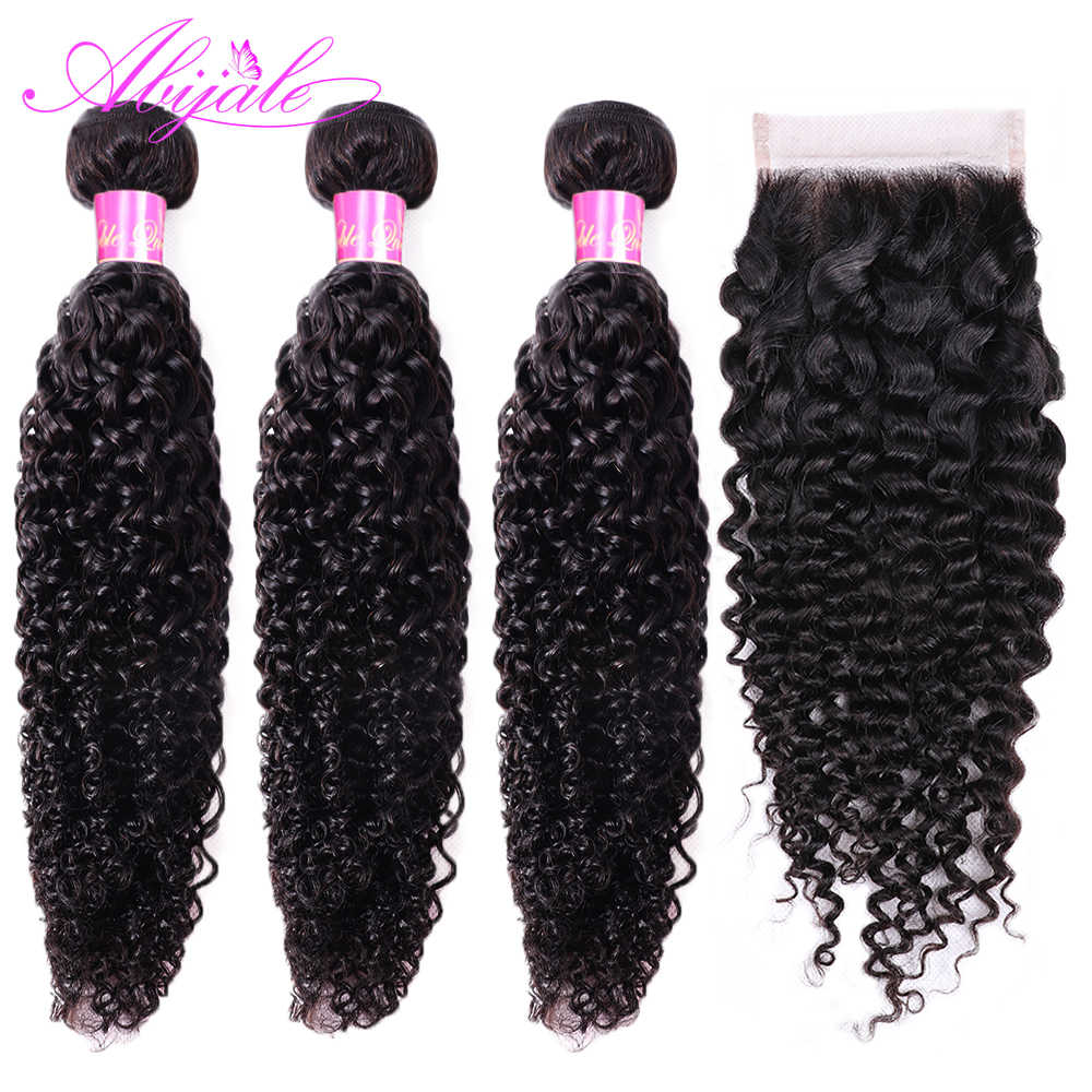 Abijale Kinky Curly Bundles With Closure Human Hair Bundles With Closure Remy Brazilian Hair Weave Bundles