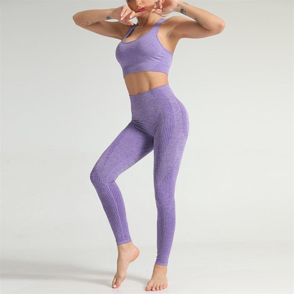 leggings esportes conjuntos de yoga feminino roupas de ginástica para mulher