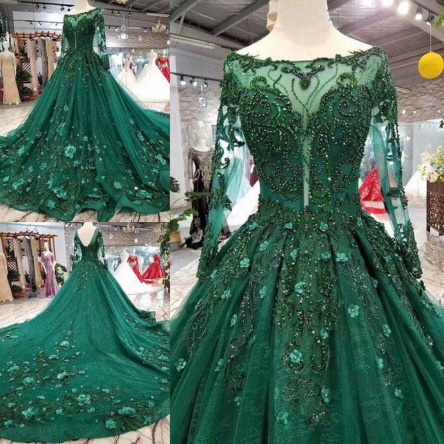 2019 Korean Style Scoop Neck Matta Satin Full Sleeves A Line Green Wedding Dresses Lace Up Back With Beadings 3D Flower