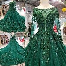 2019 קוריאני סגנון סקופ צוואר מתא סאטן מלא שרוולים קו ירוק חתונת שמלות תחרה עד בחזרה עם Beadings 3D פרח