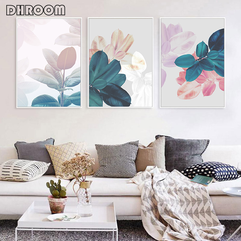 Abstract Leaves Print Wall Art Watercolor Canvas Painting Nordic Decorative Picture Modern Posters Wall Decor Living Room Art in Painting Calligraphy from Home Garden