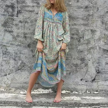 One-Piece Dress 2019 Fashion Loose Printed Floral Blue Womens Elegant Maxi Summer And Autumn Vestidos