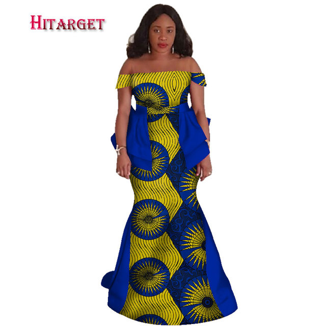 African Bazin Riche Dresses for Woman 2020 African Clothing Wax Print Sexy Slash Neck Mermaid Dashiki Clothes