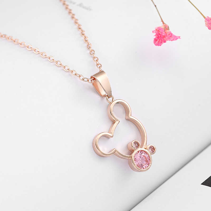 Cute Cartoon Minnie Pendant Fine Necklace Clear Crystal Rhinestone Mickey Necklaces Women Girls Long Chain Necklace Hot Sale
