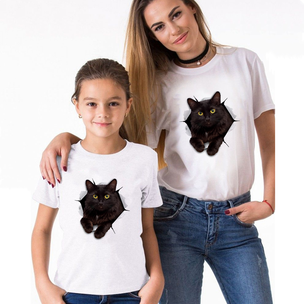 Family Matching Clothes Look Matching Outfits Clothes 3D BLACK CAT T-shirt For Daddy Mommy And Me Baby Girl Boy Clothing