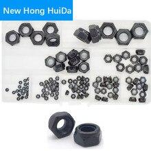 Black Carbon Steel Hex Nylon Insert Lock Nut Self-locking Nylock Nutsert Locknut M2 M2.5 M3 M4 M5 M6 M8 M10 M12 Assortment Kit